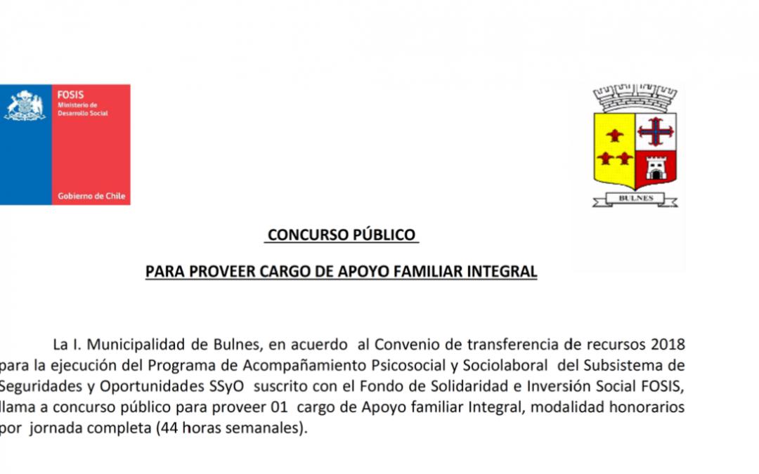 Concurso Público para proveer cargos de apoyo familiar integral