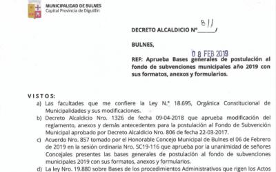 Bases Subvenciones Municipales año 2019
