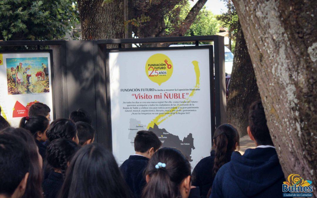 """Diversos establecimientos educacionales contemplan la exposición """"visito mi ñuble"""" en la plaza de armas de bulnes"""