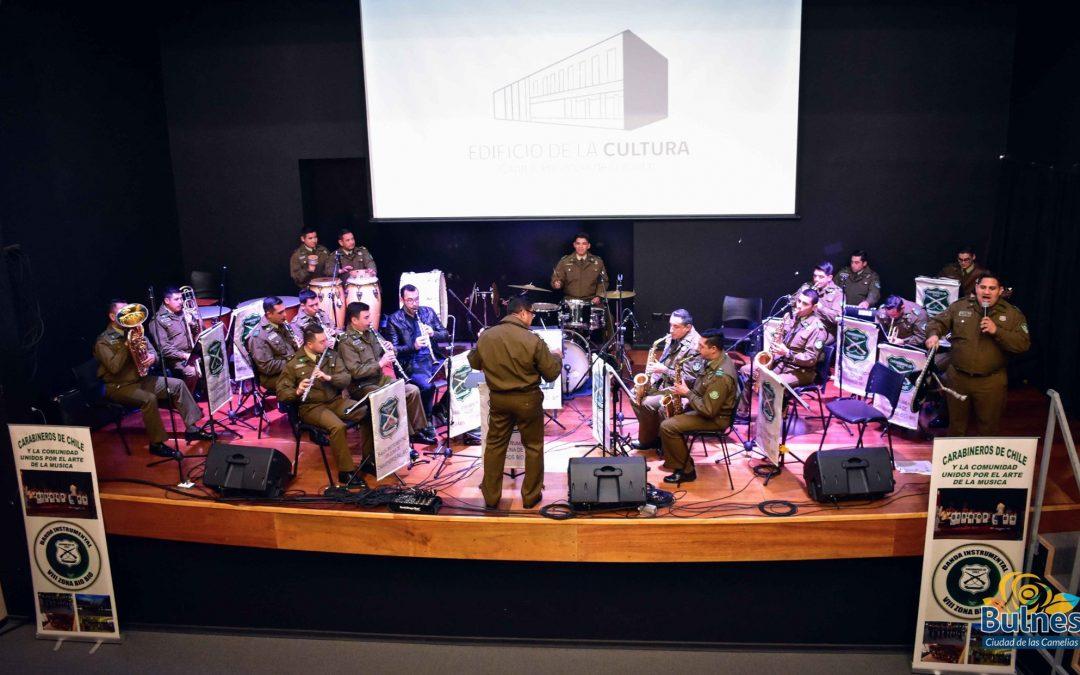 La Banda instrumental VIII Zona de Carabineros Bio-Bio se presentó este Jueves en el Edificio de la Cultura de Bulnes