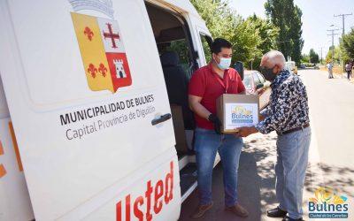 480 familias de cinco sectores de Bulnes recibieron canastas con alimentos